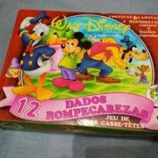 Puzzles: PUZZLE ROMPECABEZAS WALT DISNEY 12 DADOS (COMPLETO) DE PIQUÉ (AÑOS 70). Lote 263067380