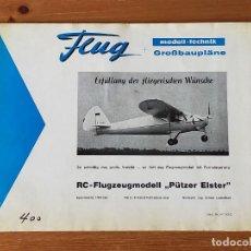 Radio Control: FLUG. PLANO (GRAN TAMAÑO) AEROMODELISMO MODELO DE AVION PUTZER ELSTER - MADE IN GERMANY, AÑOS 60/70. Lote 217728861