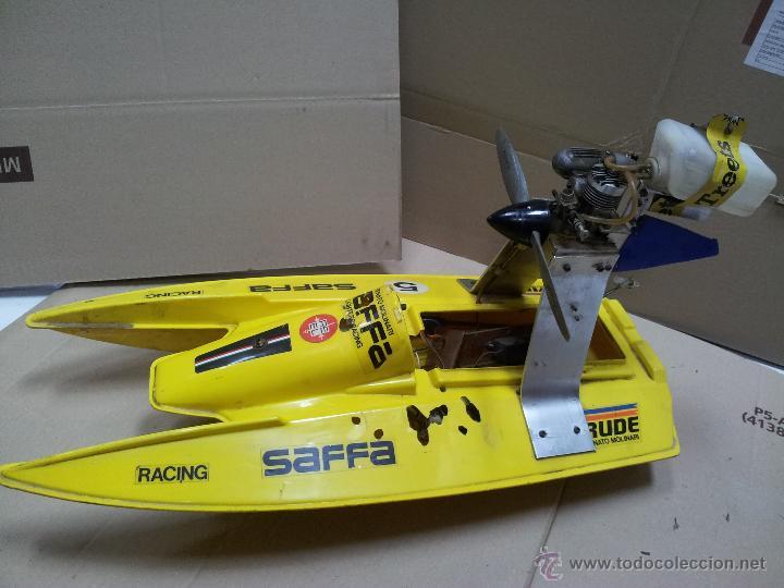 LANCHA CATAMARAN BARCO MODELISMO RC AÑOS 70-80 CON MOTOR THUNDER TIGER 20 MODEL 7701 (Juguetes - Modelismo y Radiocontrol - Radiocontrol - Barcos)