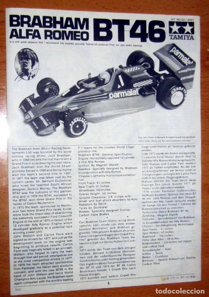 Radio Control: BRABHAM BT46 ALFA ROMEO –PARMALAT, ESCALA 1/20 TAMIYA MADE IN JAPAN DESCATALOGADO - Foto 14 - 110133619