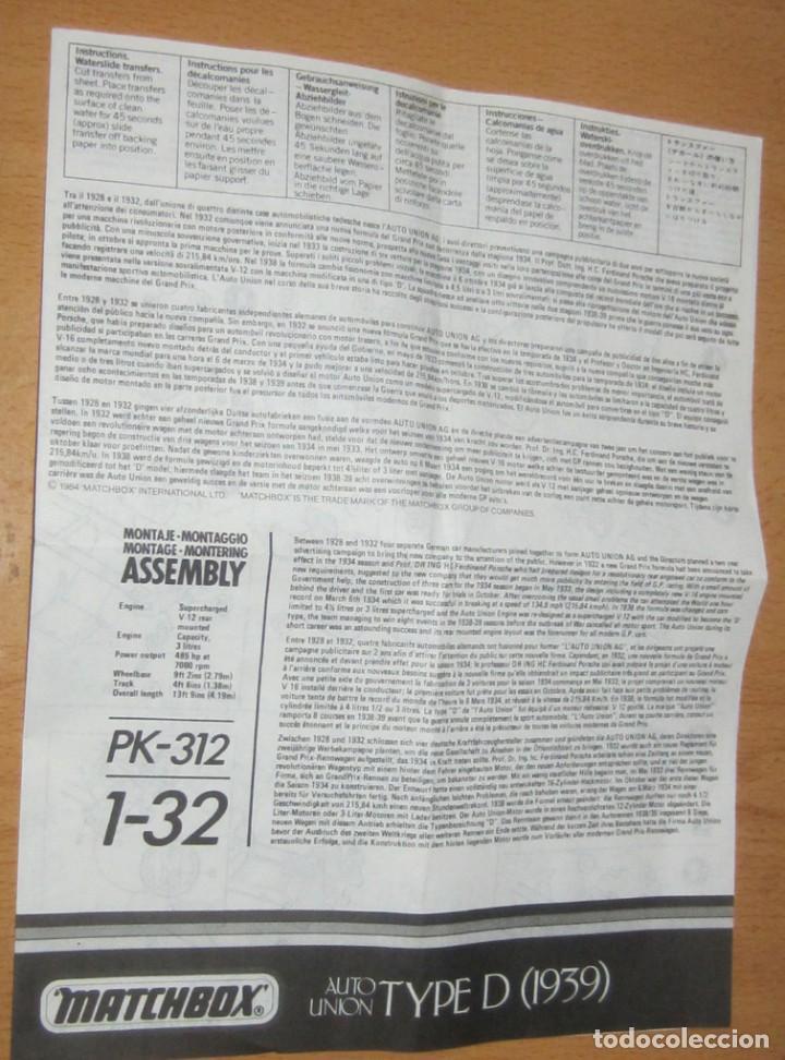 Radio Control: AUTO UNION TYPE/D ESCALA 1/32 MATCHBOX DESCATALOGADO AÑO 1983 - Foto 9 - 113043543