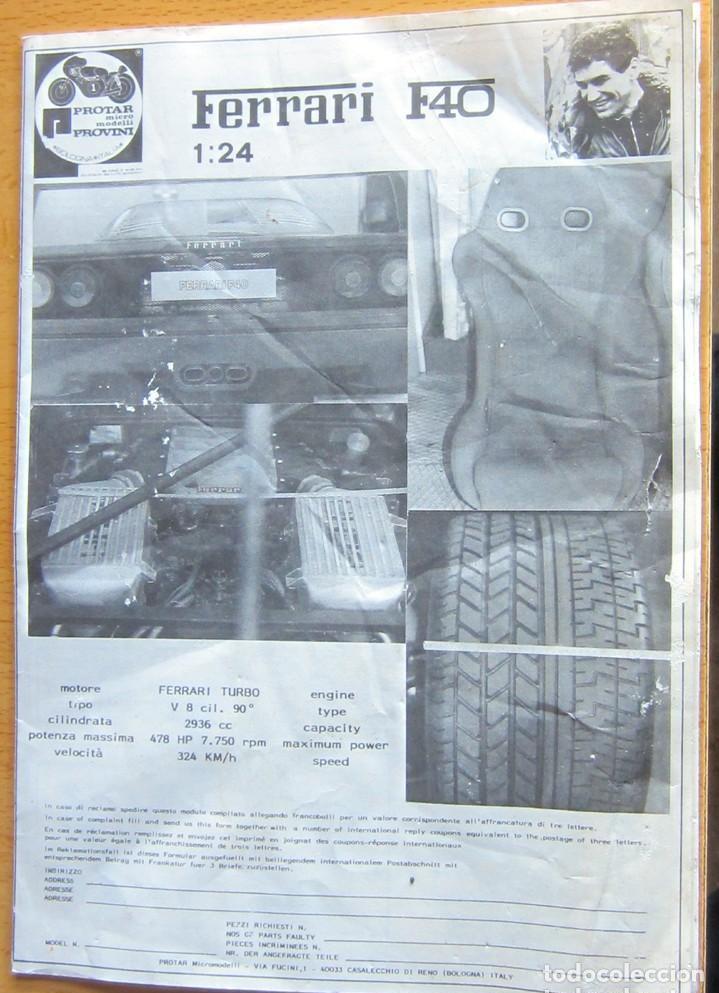 Radio Control: FERRARI F40 PROTAR MICRO MODELLI PROVINI BOLOGNA (ITALIA ) ESCALA 1/24 EN SU CAJA - Foto 14 - 114031015
