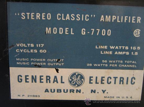Radios antiguas: Amplificador VALVULAS 56 WATT Hi-Fi vintage MADE IN USA -GENERAL ELECTRIC STEREO CLASIC 7700- - Foto 8 - 22859712