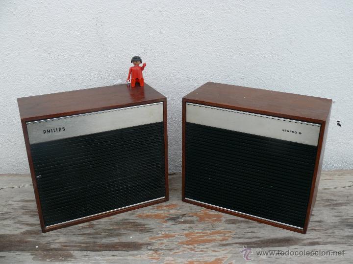 LOTE ALTAVOCES MADERA ANTIGUOS PHILIPS IDEAL ACOMPAÑAR RADIO ANTIGUA Y DECORACION VINTAGE (Radios, Gramófonos, Grabadoras y Otros - Amplificadores y Micrófonos de Válvulas)