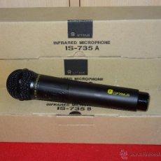 Radios antiguas: 2 MICROFONO OPTIMUS IS 735B WIRELESS INFRARED MICROPHONO NUEVOS KARAOKE. Lote 97913223