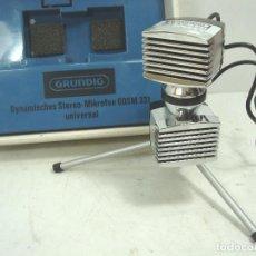 Radios antiguas: MICROFONO DINAMICO ESTEREO - GRUNDIG GDSM 202 - GERMANY AÑOS 60 + ESTUCHE ¡¡FUNCIONANDO¡¡ GRUNDING. Lote 90623825