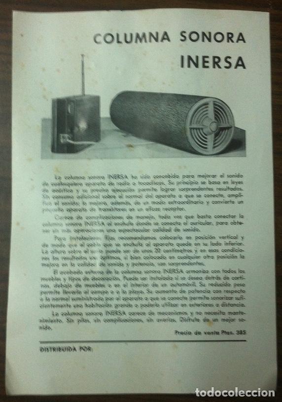 Radios antiguas: Altavoces vintage - Columna sonora INERSA - Años 60 - En su caja original - Foto 3 - 130908104