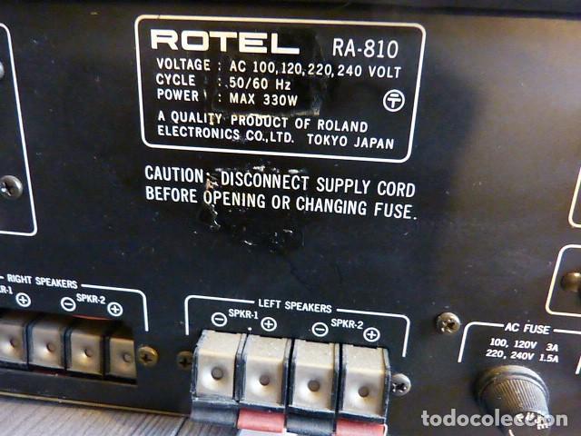 Radios antiguas: AMPLIFICADOR ANALÓGICO VINTAGE ROTEL RA-810 - Foto 7 - 138630098