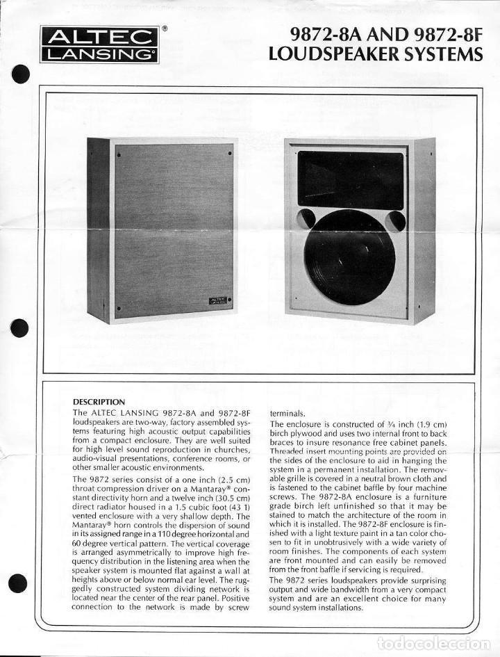 Radios antiguas: ALTEC LANSING Model 9872-8A Speaker (Solo una unidad) - Foto 3 - 234924165