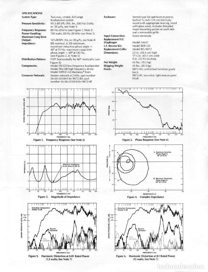 Radios antiguas: ALTEC LANSING Model 9872-8A Speaker (Solo una unidad) - Foto 4 - 234924165