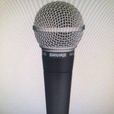 Radios antiguas: MICROFONO SHURE SM58-LC VOCAL DINÁMICO, DE MANO, CON SOPORTE ADAPTADOR Y BOLSA CON CREMALLERA. Lote 274266888