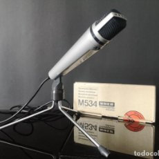 Radios antiguas: MICROFONO VINTAGE UHER DYNAMCI MICROPHONE M534 MADE IN WEST GERMANY AÑOS 70 EN CAJA ORIGINAL LOTE 1. Lote 275880368