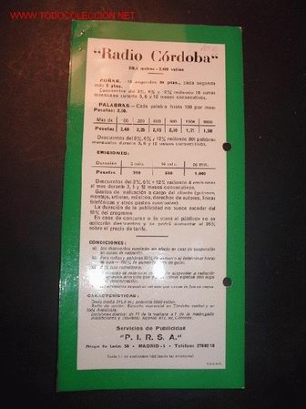 TARIFA DE PUBLICIDAD DE RADIO CORDOBA. AÑOS 50 (Radios, Gramófonos, Grabadoras y Otros - Catálogos, Publicidad y Libros de Radio)