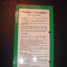 Alte Radios - TARIFA DE PUBLICIDAD DE RADIO CORDOBA. AÑOS 50 - 18632364