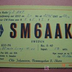 Radios antiguas: 623 QSL CARD TARJETA RADIO SUECIA SWEDEN MIRA MAS EN MI TIENDA TC COSAS&CURIOSAS. Lote 3997398
