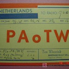 Radios antiguas: 625 QSL CARD TARJETA RADIO HOLANDA - MAS DE ESTE TIPO EN MI TIENDA COSAS&CURIOSAS. Lote 4639768