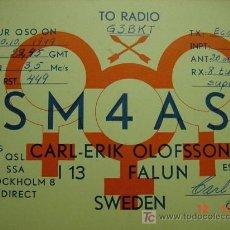 Radios antiguas: 627 QSL CARD TARJETA RADIO SUECIA SWEDEN - MAS DE ESTE TIPO EN MI TIENDA COSAS&CURIOSAS. Lote 5963507