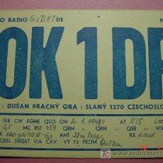 Radios antiguas: 629 QSL CARD TARJETA RADIO CHECOESLOVAQUIA - MAS DE ESTE TIPO EN MI TIENDA COSAS&CURIOSAS. Lote 4639774