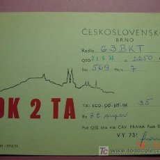 Radios antiguas: 632 QSL CARD TARJETA RADIO CHECOESLOVAQUIA - MAS DE ESTE TIPO EN MI TIENDA COSAS&CURIOSAS. Lote 4639781