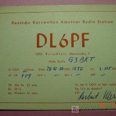 Radios antiguas: 638 QSL CARD TARJETA RADIO ALEMANIA GERMANY - MAS DE ESTE TIPO EN MI TIENDA COSAS&CURIOSAS. Lote 4639793