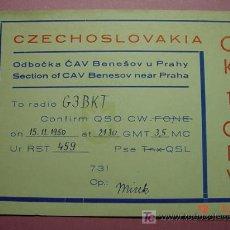 Radios antiguas: 648 QSL CARD TARJETA RADIO CHECOESLOVAQUIA - MAS DE ESTE TIPO EN MI TIENDA COSAS&CURIOSAS. Lote 5938987