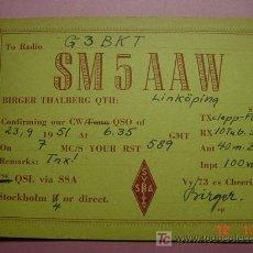 Radios antiguas: 645 QSL CARD TARJETA RADIO SUECIA SWEDEN - MAS DE ESTE TIPO EN MI TIENDA COSAS&CURIOSAS. Lote 12311306