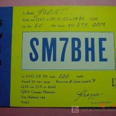 Radios antiguas: 649 QSL CARD TARJETA RADIO SUECIA SWEDEN - MAS DE ESTE TIPO EN MI TIENDA COSAS&CURIOSAS. Lote 12311307