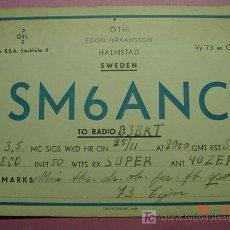 Radios antiguas: 651 QSL CARD TARJETA RADIO SUECIA SWEDEN - MAS DE ESTE TIPO EN MI TIENDA COSAS&CURIOSAS. Lote 12311308