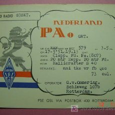 Radios antiguas: 650 QSL CARD TARJETA RADIO HOLANDA NETHERLANDS - MAS DE ESTE TIPO EN MI TIENDA COSAS&CURIOSAS. Lote 4669484