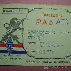 Radios antiguas: 643 QSL CARD TARJETA RADIO HOLANDA NETHERLANDS - MAS DE ESTE TIPO EN MI TIENDA COSAS&CURIOSAS. Lote 4669493