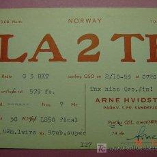 Radios antiguas: 652 QSL CARD TARJETA RADIO NORUEGA NORWAY - MAS DE ESTE TIPO EN MI TIENDA COSAS&CURIOSAS. Lote 12311311
