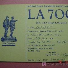 Radios antiguas: 646 QSL CARD TARJETA RADIO NORUEGA NORWAY - MAS DE ESTE TIPO EN MI TIENDA COSAS&CURIOSAS. Lote 12311312