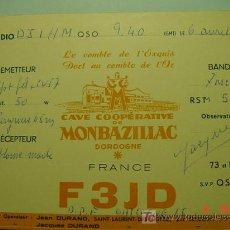 Radios antiguas: 7688 QSL CARD TARJETA RADIO FRANCIA FRANCE- MAS DE ESTE TIPO EN MI TIENDA COSAS&CURIOSAS. Lote 4689134