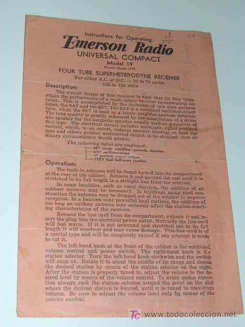 FOLLETO DE INSTRUCCIONES OPERACIÓN RADIO AÑOS 1930. EMERSON RADIO MODEL 19 CHASIS UV4 (Radios, Gramófonos, Grabadoras y Otros - Catálogos, Publicidad y Libros de Radio)