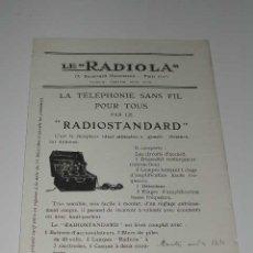 Radios antiguas: LE 'RADIOLA' - FOLLETO PUBLICIDAD DE LOS EQUIPOS RADIOSTANDARD Y RADIOLINA, (HACIA 1922). Lote 14732027