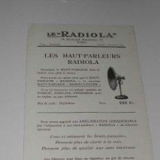 Radios antiguas: LE 'RADIOLA' - FOLLETO PUBLICIDAD DE LOS ALTAVOCES RADIOLA, (HACIA 1922). Lote 14677469