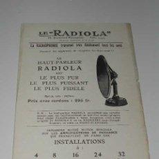 Radios antiguas: LE 'RADIOLA' - FOLLETO PUBLICIDAD DEL ALTAVOZ RADIOLA, (HACIA 1922). Lote 27086280