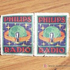 Radios antiguas: PAREJA DE SELLOS DE PUBLICIDAD DE PHILIPS RADIO. SON DE EPOCA. Lote 20592822