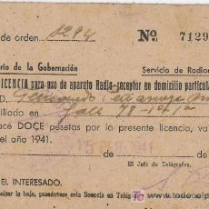 Radios antiguas: LICENCIA DE USO DE APARATO DE RADIO-RECEPTOR 1941. Lote 5153559