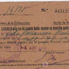 Radios antiguas: LICENCIA DE USO DE APARATO DE RADIO-RECEPTOR 1942. Lote 5153576
