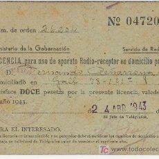 Radios antiguas: LICENCIA PARA USO PARTICULAR DE APARATO DE RADIO-RECEPTOR AÑO 1943. Lote 5153604