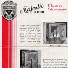 Radios antiguas: FOLLETO PUBLICITARIO MAJESTIC RADIO, EL ESPIRITU DEL SIGLO DEL PROGRASO.. Lote 9894774