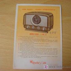 Radios antiguas: LAMINA CARACTERISTICAS TECNICAS MUNDIAL RADIO MODELO DELHI Z 504 D LUIS TELLO CARIÑENA AÑOS 60. Lote 98819794