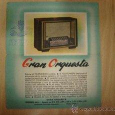 Radios antiguas: LAMINA TECNICA RADIO TELEFUNKEN MODELO GRAN ORQUESTA 1950. Lote 8229244