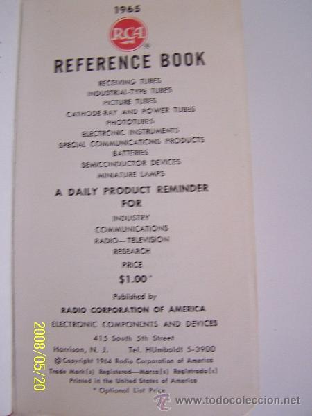 Radios antiguas: RCA-REFERENCE BOOK-1965-IBERONICS, S.A.-MAD.RADIO CORPORATION OF AMERICA.ELEC. COMP. AND DEVICES - Foto 2 - 77672406