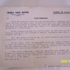Radios antiguas: ESCUELA RADIO MAYMÓ- CURSO DE RADIO-DICCIONARIO- 1958-216 PÁG. ( PARA ENCUADERNAR). Lote 23844997