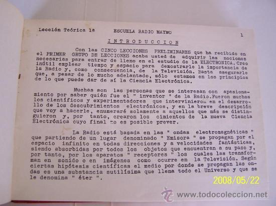 Radios antiguas: ESCUELA RADIO MAYMÓ- CURSO DE RADIO-19 LECCIONES DE TEÓRICA1º- ENCUADERNADAS.-1958?.ILUSTRADAS. - Foto 2 - 23844999
