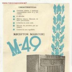 Radios antiguas: CARTELITO DE PUBLICIDAD DE LA RADIO MARCONI. Lote 26688996
