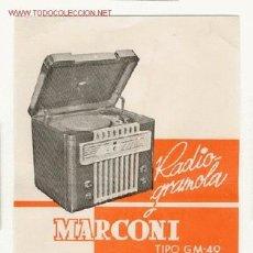 Radios antiguas: CARTELITO DE PUBLICIDAD DE RADIO MARCONI. Lote 27520875