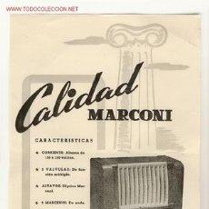 Radios antiguas: CARTELITO DE PUBLICIDAD DE RADIO MARCONI. Lote 27240106
